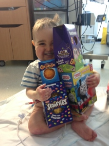 Easter Eggs! All donated to the ward by kind people....Seth does not like chocolate though so........